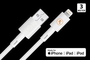 MFI/Apple Laddkabel 3M Vit Förstärkt