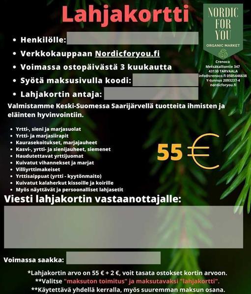 Nordicforyou -lahjakortti 55 €