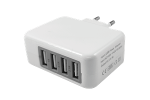 Vägguttag 4-USB portar 230V