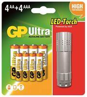 Batteri GP 4 AA+4 AAA+LED Ficklampa
