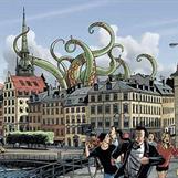 Stockholm-Gamla stan. Ola springer längst fram och hustru Natalie i rött