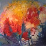 """""""Sensommar i trädgården"""", oil on canvas, 80x100 cm, Christine Friman"""