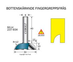 Fingergreppsfräs D=34 L=10 R=12  S=8