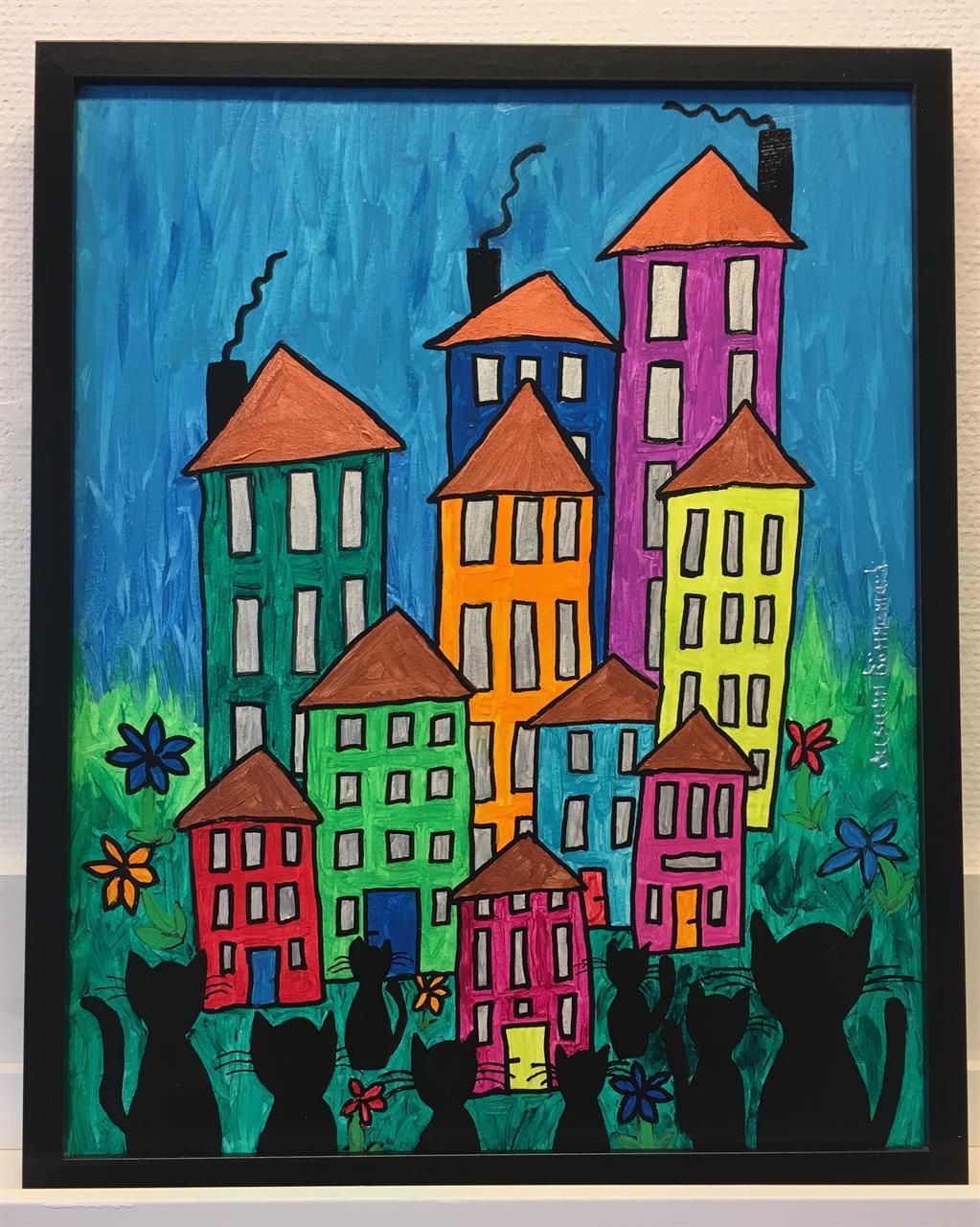 Tavla med färggranna hus och svarta katter
