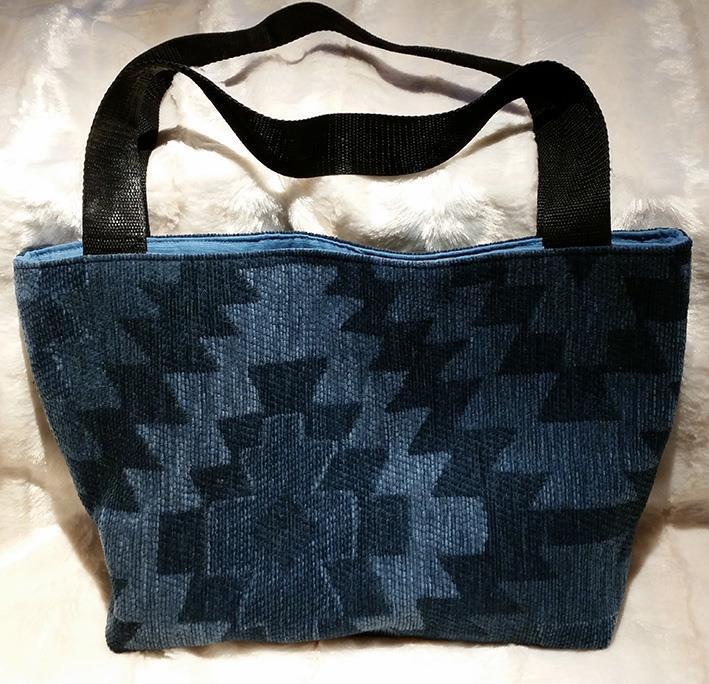 Sydd veske blå geometrisk mønster