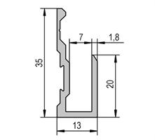 Speilskinne 7/13x35 mm alu med spor - 240 cm