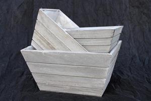 Planteringslåda grå i trä 3 set