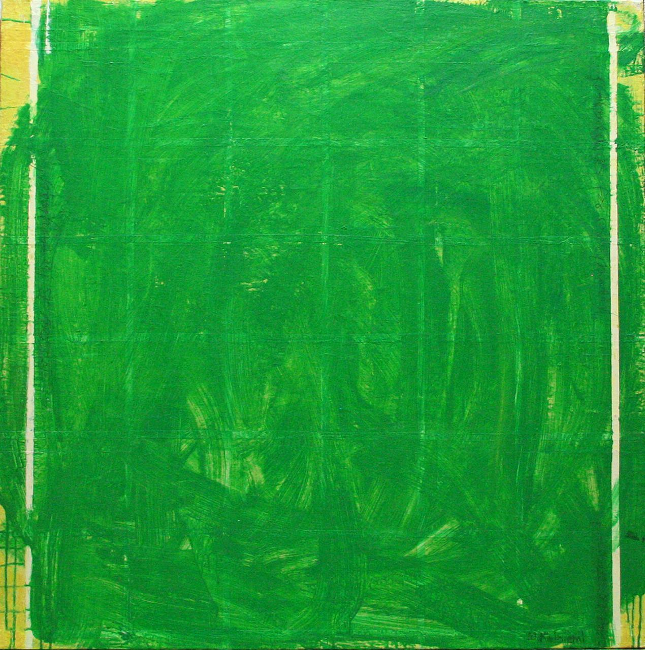 PAINTING OVER WITH GREEN COLOUR 100x100cm 2013