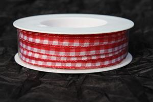 Band 8 mm 25 m/r röd/vit rutigt