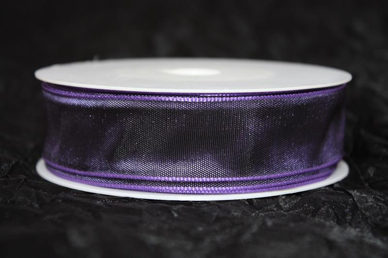 Band 25 mm 25 m/r taft lila med tråd