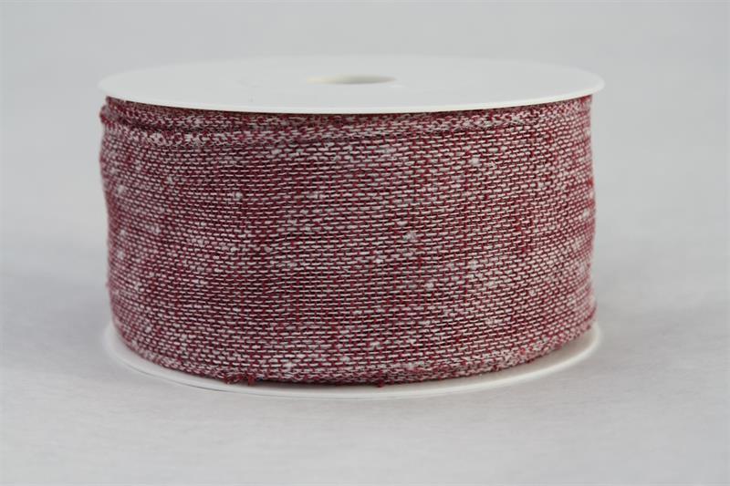 Band 50 mm 8 m/r berry linne med tråd