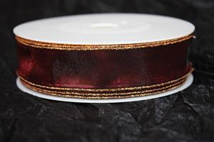 Band 25 mm 25 m/r mörkröd guldkant.Tråd