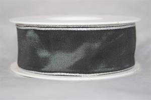 Band 40 mm 25 m/r grå/silverkant med tråd