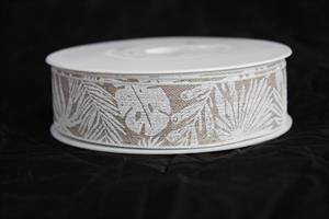 Band 25 mm 15 m/r linne vita blad med tråd