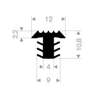 T-profil 12x10,8 mm sort EPDM - Løpemeter