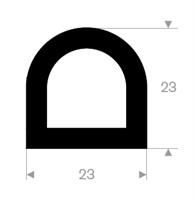 D-profil 23x23 mm sort TPE - Løpemeter