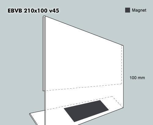 Etiketthållare. EBVB 210-100F vinklad 45°