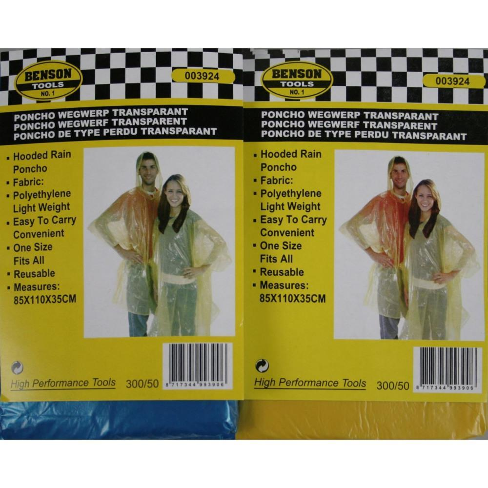 Regnponcho engångs transparent 2pack