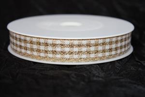 Band 15 mm 25 m/r karo guld/vit ej tråd