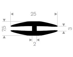 H-profil 3/25x7,5 mm Sort EPDM - Løpemeter