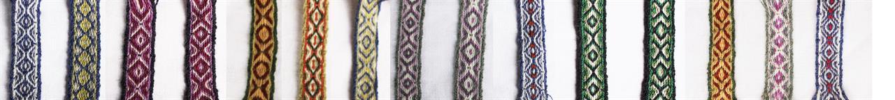 Bandpåsar i ull, tre olika grovlekar. 2 trådigt stickgarn, vävgarn/broderigarn, tunnaste redgarn