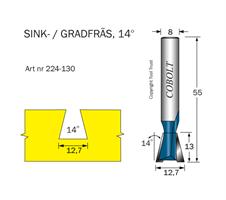 Sinkfräs 14° D=12.7 L=13 TL=55 S=8