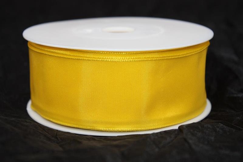 Band 40 mm 25 m/r taft gul med tråd