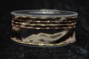 Band 40 mm 20 m/r brun med guldkant