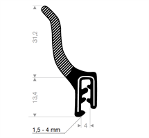 Kantprofil ST 36.920 sort (1,5-4 mm) - Løpemeter