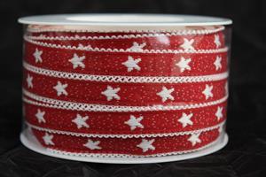 Band 12 mm 25 m/r röd/vit stjärna