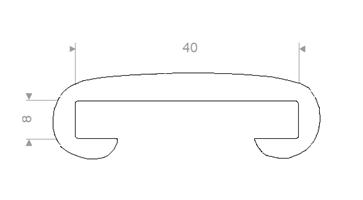 Håndløperprofil 40x8 mm Hvit - 25 meter