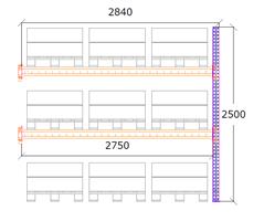 Följdsektion h:2500 b:2750 mm 2 nivåer