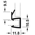 Kantlist med 10 mm anslag - for 8 mm glass