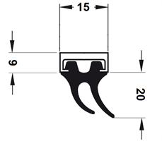 Lukeprofil 15x26x1250 mm sort m/alu profil