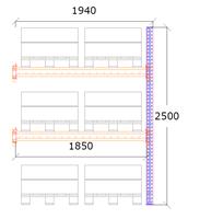 Följdsektion h:2500 b:1850 mm 2 nivåer