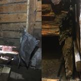 Bild 5. Till vänster rötskadan sett från insidan. Till höger rötskadade tvärväggen sett utifrån. Plåtar hade spikats för som skydd.