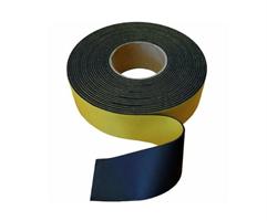 Gummistrips 80x5 mm Sort m/lim - Hel rull 10 meter