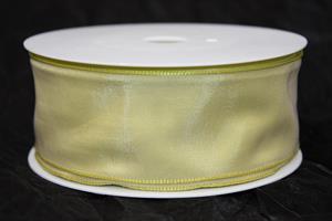 Band 40 mm 25 m/r ljusgrön taft med tråd
