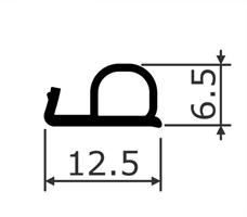 Dør/vindusprofil 5200 sort TPE - Løpemeter