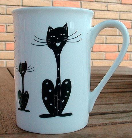 Kaffemugg Svart och glad katt