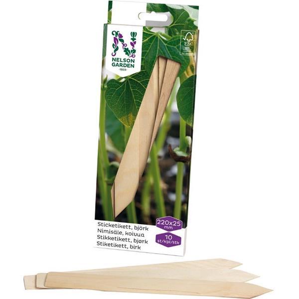 Sticketikett trä 22 cm, 10 st