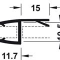 Kantlist mellomtetting/anslag 15 mm - 8 mm glass