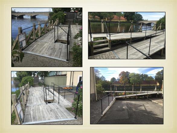 Gångplan åt kommunen, Tidanpromenaden i centrala Mariestad. Hösten 2015 och våren 2016. Stolpverkskonstruktion i färsk ek, från Mariestads stadsområde. Etapp 1 Tidanpromenaden, ca 1 år efter färdigställandet.