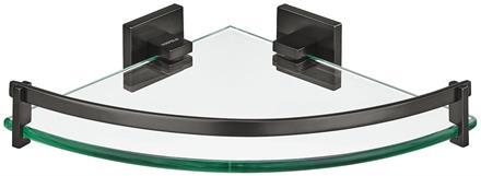 Glasshylle hjørne 23x23 cm sort