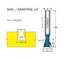 Sinkfräs 14° D=12.7/14.3 L=13 TL=58 S=8