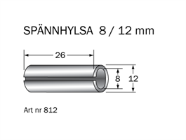 Spännhylsa 8 < 12 mm L=26