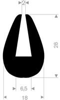 U-profil 6,5/18x28 mm sort EPDM - Løpemeter