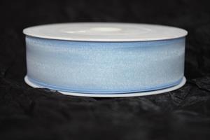 Band 25 mm 50 m/r organza azurblå