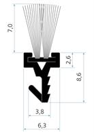 Børstelist 7,0x9,6x2100 mm sort