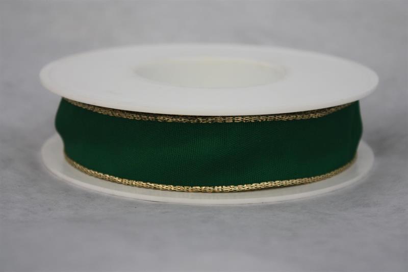 Band 40 mm 25 m/r grön/guldkant med tråd